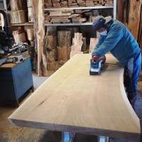 今日の作業20140124~欅・ブラックウォルナット一枚板の加工を開始~