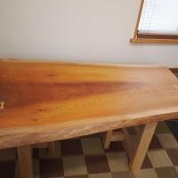 長野県山ノ内町・山本様の欅一枚板テーブル、完成!20140212