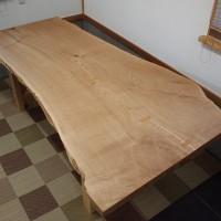 愛知県杉戸様の栗一枚板テーブル、完成20140308