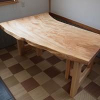 松本市古旗様栃一枚板テーブル完成!20150309