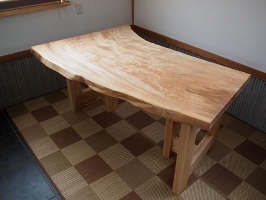栃一枚板テーブル完成!20150309-1