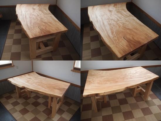 栃一枚板テーブル完成!20150309-2