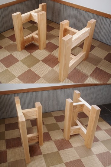 ホワイトアッシュテーブル・座卓兼用脚-1