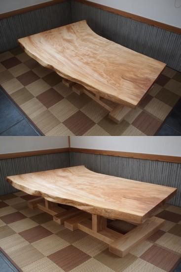 栃一枚板ローテーブル完成!20150309