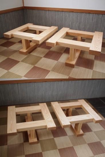 ホワイトアッシュテーブル・座卓兼用脚-3
