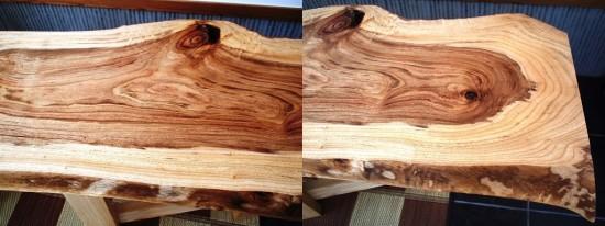 木曽檜・クス一枚板天板を仕上げました4
