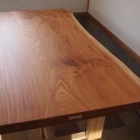 長野県・高洲様欅老木一枚板座卓、完成20150418