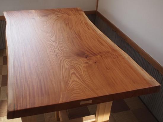 欅老木一枚板座卓完成20150418-1