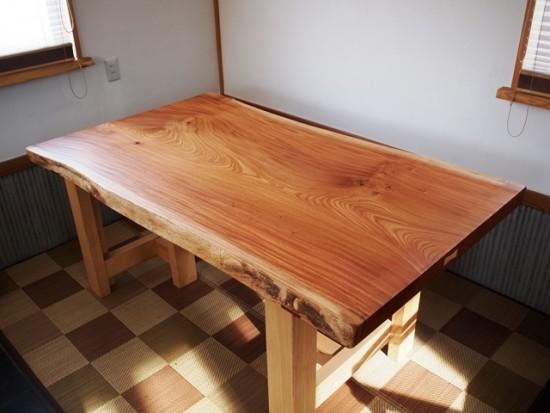 欅老木一枚板座卓完成20150418-5