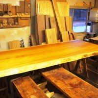 鹿児島県井上様の欅一枚板テーブルが完成しました
