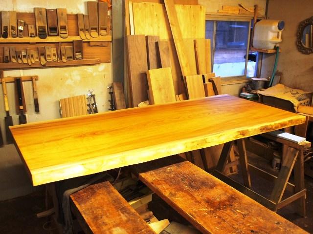 鹿児島県井上様欅一枚板テーブル完成1