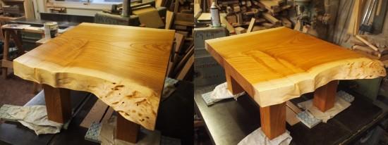 総欅造り一枚板座卓2台完成-6