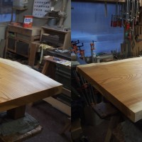 埼玉県・星野様の総欅造り一枚板座卓2台が完成しました