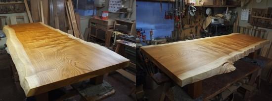 総欅造り一枚板座卓2台完成-1