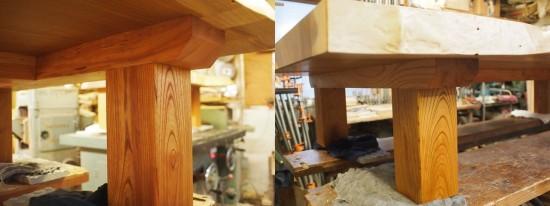 総欅造り一枚板座卓2台完成-5