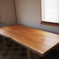 島根県・黒田様の巨大欅一枚板テーブル、天板が完成20140517