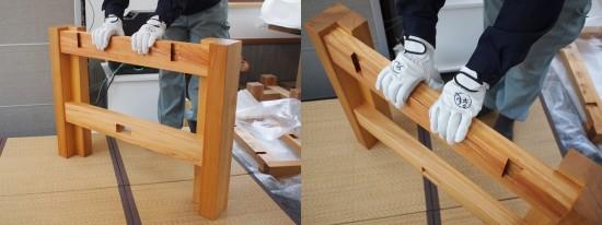 欅巨大一枚板テーブル脚、完成20140524-2