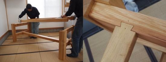 欅巨大一枚板テーブル脚、完成20140524-6