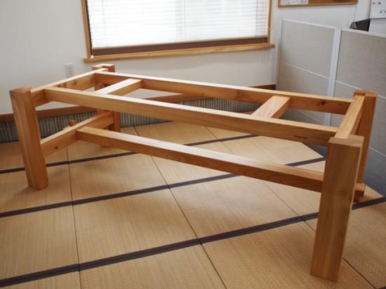 欅巨大一枚板テーブル脚、完成20140524-1