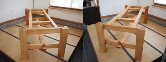 欅巨大一枚板テーブル脚、完成20140524-8