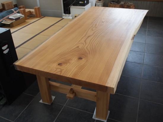 欅巨大一枚板テーブル脚、完成20140524-9