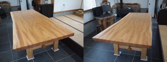 欅巨大一枚板テーブル脚、完成20140524-11