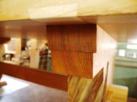 欅一枚板テーブル(くさび留め耳付き板脚)9