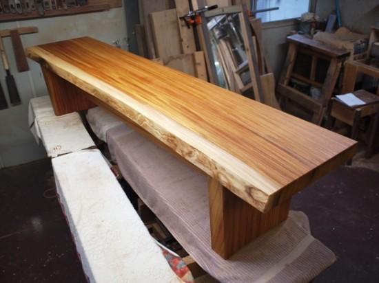 欅一枚板ベンチ1