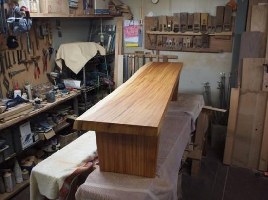 欅一枚板ベンチ2