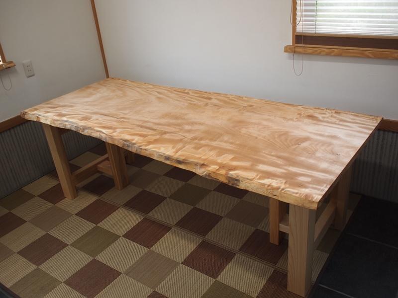 栃一枚板テーブル(テーブル・座卓兼用脚)完成20140618-1