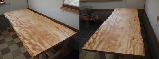 栃一枚板テーブル(テーブル・座卓兼用脚)完成20140618-2
