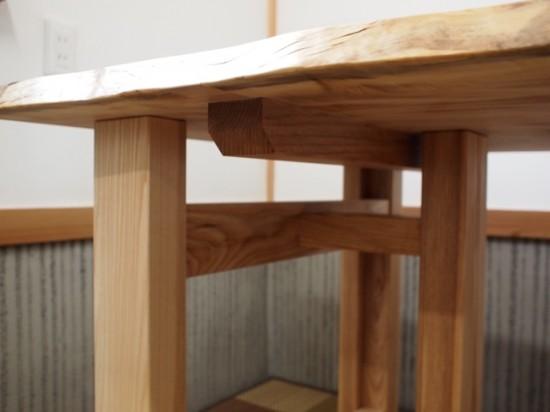 栃一枚板テーブル(テーブル・座卓兼用脚)完成20140618-3