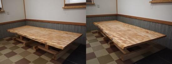 栃一枚板テーブル(テーブル・座卓兼用脚)完成20140618-4
