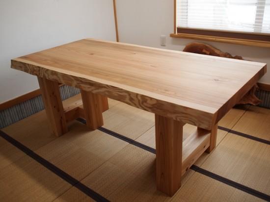 総杉造り一枚板テーブル完成20140621(杉テーブル・座卓兼用脚)2