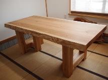 総杉造り一枚板厚盤テーブル(テーブル・座卓兼用脚)