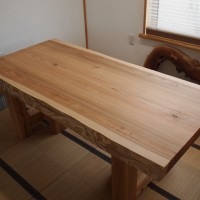 神奈川県・橋本様の総杉造り一枚板テーブル完成20140621(杉テーブル・座卓兼用脚)