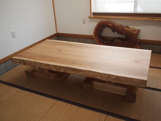 総杉造り一枚板座卓(杉テーブル・座卓兼用脚)20140620a