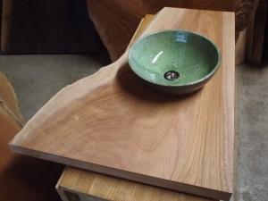 欅一枚板トイレ手洗いカウンター(陶器ボウル)4