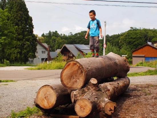 欅丸太に登る息子20130629-2