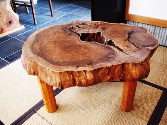 胡桃輪切りのティーテーブル1