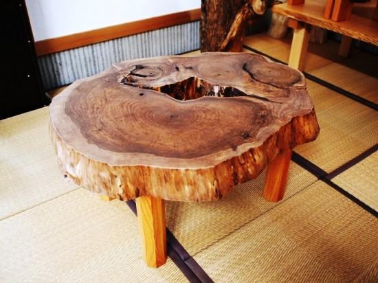 胡桃輪切りのティーテーブル6