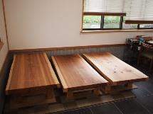 杉一枚板座卓3台(総杉造り・座卓専用脚)