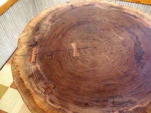 総ブラックウォルナット造り輪切りテーブル、完成20140730-2