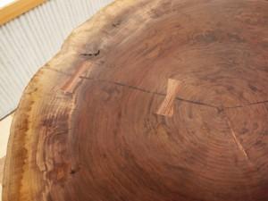 総ブラックウォルナット造り輪切りテーブル、完成20140730-3