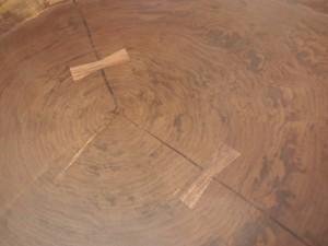 総ブラックウォルナット造り輪切りテーブル、完成20140730-4