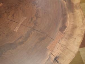 総ブラックウォルナット造り輪切りテーブル、完成20140730-5