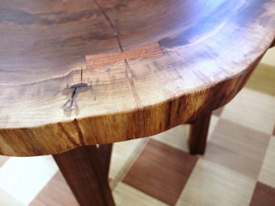 総ブラックウォルナット造り輪切りテーブル、完成20140730-6