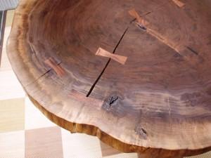 総ブラックウォルナット造り輪切りテーブル、完成20140730-13