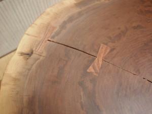 総ブラックウォルナット造り輪切りテーブル、完成20140730-12