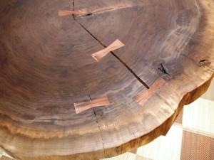 総ブラックウォルナット造り輪切りテーブル、完成20140730-11